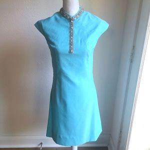Vintage Light Blue 1960s Cocktail Dress small
